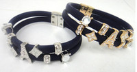 Wholesale new fashion Magnetic clasp CZ crystal Dark Bule color silicon Tower bracelet