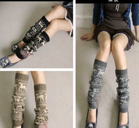 Wholesale Autumn winter deer Christmas Knitted Leg Warmers Stocking Socks Boot Covers Leggings Tight pairs mixed colors