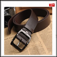 Wholesale 2013 genuine leather brand good quality pin buckle black business trouser belts for men