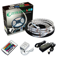 Wholesale Zitrades Non Waterproof Ft RGB Color Changing Kit with LED Flexible Strip key Controller IR Remote box and Volt Amp Power Supply