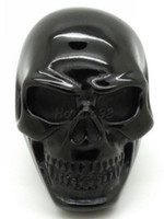 Wholesale Price Punk Mens L Stainelss Steel Fashion Ghothic Black Skull Huge Finger Ring New Arrival