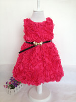 Summer Sleeveless 100% Cotton 2014 New Fashion Girls Rose Flower Dress for Christmas Baby Girls' Dresses For New Year Party Red Hot pink Children Clothing Autumn -Summer