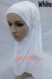 Wholesale Chiffon Headscarf - New Design Fashion Ice Silk Cotton Muslim Hijabs Headscarf with Pearl 3 pieces Flower for Women free shipping