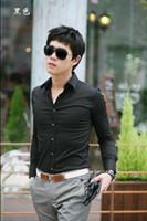 mens dress shirts - 2013 Mens Slim fit Unique neckline stylish Dress long Sleeve Shirts Mens dress shirts colors size M XXXL