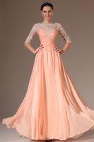 Wholesale 2014 Prom Dresses Scoop Chiffon Lace Applique Long sleeve Dress A Line Floor length Gowns