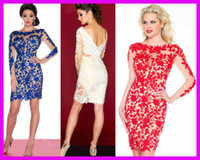 Vintage short dresses - 2014 Hot Sell Royal Blue Red Beaded Lace Long Sleeves Column Short Prom Cocktail Party Dresses E4953