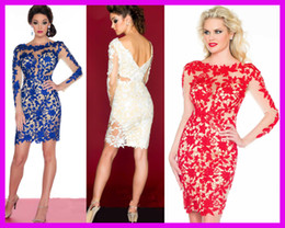 Wholesale 2014 Hot Sell Royal Blue Red Beaded Lace Long Sleeves Column Short Prom Cocktail Party Dresses E4953