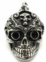 Wholesale Horrible Ghost Demon Stainless Steel Vintage Jewelry Pendant Biker Mens Skulls Skeleton Pendant Necklace Chain