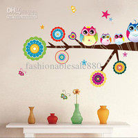 Wholesale 61 cm Owl Animals Cartoon Wall Sticker Kid s Room Sticker