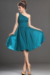 Wholesale Pretty A line One shoulder Ruffle and High Quality Peacock Chiffon Knee Length Prom Dresses JK39