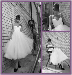 Wholesale Cheap Inbal Dror Vintage Style Wedding Dresses Ball Gown Spaghetti Straps Tulle Tea Length Wedding Dress Simple Beach Bridal Dresses