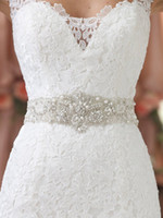 Wholesale New Arrival Gorgeous Exquisite Shining Crystal Beaded Bridal wedding Dresses Sashes Hand beaded illusion Wedding Dress Belts