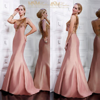 Modern Beads Scoop New Sexy Sleeveless Crystal Beaded Sheer Back Peacock Evening Dress Mermaid Prom Dress Mother Dress