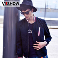 Wholesale Varsity Jackets for Men Sport Jackets Stand Collar Long Sleeve Casual Wear viishow Inclined Chest Zipper Elastic Cuffs and Bottom JC0010