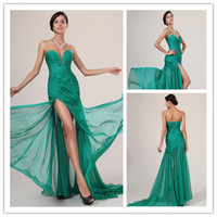 Wholesale - Top Selling Sweetheart Long Mermaid Green Chiffo...