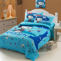 baby bedding snoopy - blue snoopy baby boy girl cartoon kids duvet cover sheet set cotton single twin size bed children bedding set christmas gifts