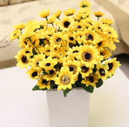 Wholesale HOT cm quot Length Artificial Silk Flowers Simulation Sunflower Fourteen Flower Heads Per Bush Home Decoration