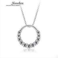 Wholesale Free shippig AAA Diamond sterling silver Gilr s Simple Bohemia Circle Charm Pendant Necklace
