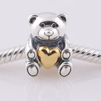 Loose Beads 925 Silver LW282 Mother's Day Teddy Bear Charm european style charms solid 925 sterling silver beads with threaded fashion fit european bracelets LW282