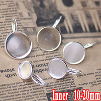 Wholesale 100pcs Silver Plated Earring Hook Jewelry with inner mm Bezel Setting Tray for Cameo Cabochons