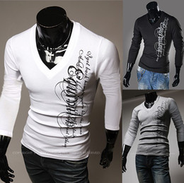Wholesale 2013 NEW ARRIVE casual Letters printed men s t shirts slim v neck men s t shirts mens t shirts WHITE