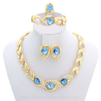 Wholesale European Style k Gold Plated Blue Stone Crystal Chain Necklace Earrings Party Fashion Jewelry Set A033