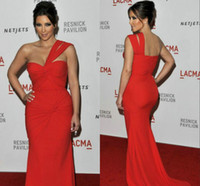 Satin Sleeveless Chapel Train 2014 Sexy Cheap Kim Kardashian Red Evening Dresses Sheath Plus Size Prom Dresses One Shoulder Backless Satin Chapel Train Pageant Dresses