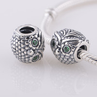 Wholesale Wize Owl Charm european style charms solid sterling silver beads with threaded fashion fit european bracelets LW289