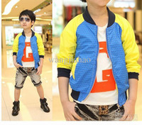 Wholesale Han edition bright boy casual jacket zipper unlined upper garment stitching coat baby children dot autumn clothes