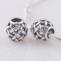 Wholesale Openwork Basket weave Charm european style charms solid sterling silver beads with threaded fashion fit european bracelets LW290