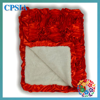 Wholesale Hot Cute Newborn Baby Blankets D Rosette Flower Fleece Blanket cm Infant Baby Blankets