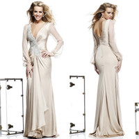 Wholesale 2014 Sexy Deep V Neck Sheath Bead Pleat Long Sleeve Evening Dresses Zuhair Murad Dress Evening Gowns