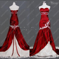 2014 Hot Selling Strapless Red White Mermaid wedding gowns B...