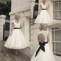 Wholesale Custom made sweetheart lace capped sleeves hollow back a line tea length wedding dress with black ribbon sash ivory bridal gown