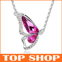 Wholesale Butterfly Pendant Necklaces Jewelry Austrian crystal mixed ZB0010
