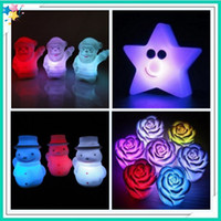 Wholesale EMS fastshipping Christmas gifts star lamp Father Christmas snowman Love Colorful roses Colorful candle Colorful lamp