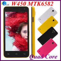 Wholesale XMAS W450 MTK6582 NEW Quad Core chip android cell phone G RAM G ROM inch screen MP REAR CAMERA Android4 OS G mobile smart phone