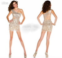 2014 Prom Dresses Sexy One Shoulder Gold Sequin Tulles Backl...
