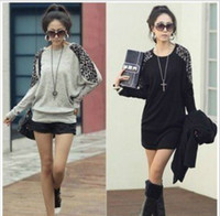 Wholesale Fashion Cotton Women s Leopard Grain sweater Round Brought Long Sleeve Top colors New arrive W4248