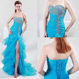 Wholesale Dizzy Beaded Sequins Ruffles Mermaid Evening Dresses Organza Prom Gown Strapless and Slit Design CL4654