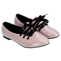 Wholesale Price Euro amp America Women Lady Girls PU Leather Lace up Pointed Toe Slip on Low Top Flat Shoes hot sale XZ397
