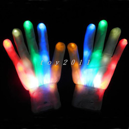 2017 new 10pair 7 mode LED finger gloves light lighting flashing Rave toy Dance party white