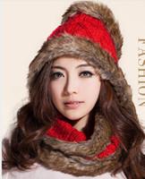 Wholesale Imitation rabbit fur scarf MAO female upset to keep warm in winter knitting wool scarf set of head