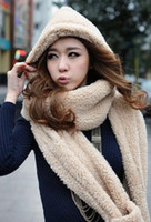 Wholesale Beige Thickening Plush Cashmere Hooded Scarf Scarves Hats Gloves Winter Warm Ear Hand Protect One Couple DLH3
