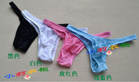 Wholesale Men s Low rise Sexy Ice Silk Bikini Briefs Underpanty Sexy Underwear Panties Hot Sell Sexy Panty Thong Open Sexy Panty