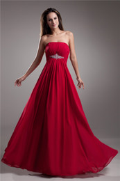 Sexy Simple Red Sheath Strapless Sleeveless Red Chiffon Flowers Floor Length Formal Wedding Party Bridesmaid Evening Gown Prom Dresses