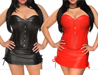 Wholesale Sexy Girl s Women s Plus Size Corset Tops PU Pleather Vintage Corset with G string Steel Hook Eye Lace Up Corset S XL Sizes P006