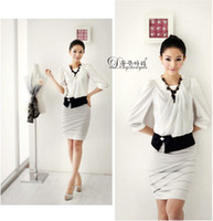 Cheap Women Collarless Suits Business Suit Tailored Suits Career Fashion Tops Kilt casual dress