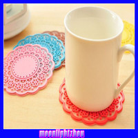 Wholesale Creative Home sweet vintage translucent hollow lace coasters silicone mat insulation coasters moonlightzhou