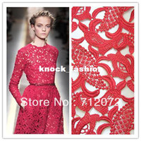 Cheap Free shipping hot VALENTINO-show 120cm embroidery hollow water soluble red lace fabrics dress fabric.